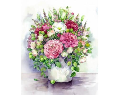 """Алмазная выкладка """"Яркие пионы с зелеными плодами в белой вазе"""" 40х50"""