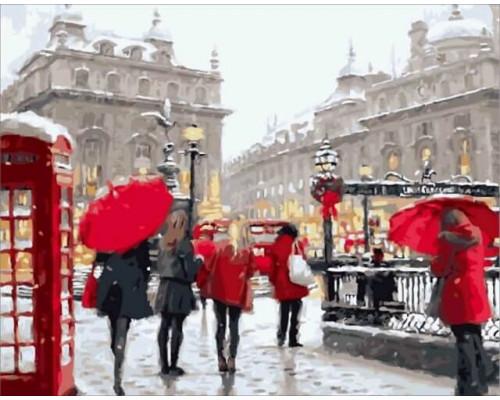Алмазная вышивка Лондон в снегу 40х50