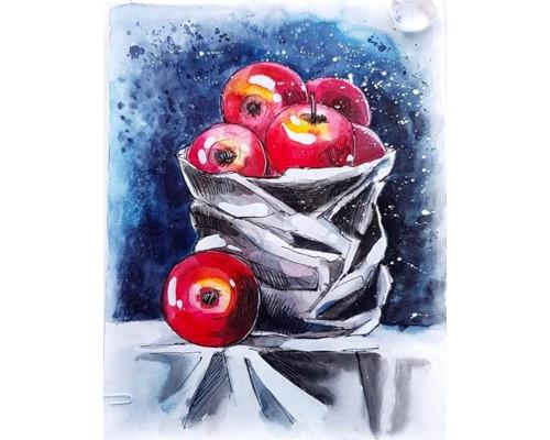 Алмазная вышивка Натюрморт с яблоками 40х50