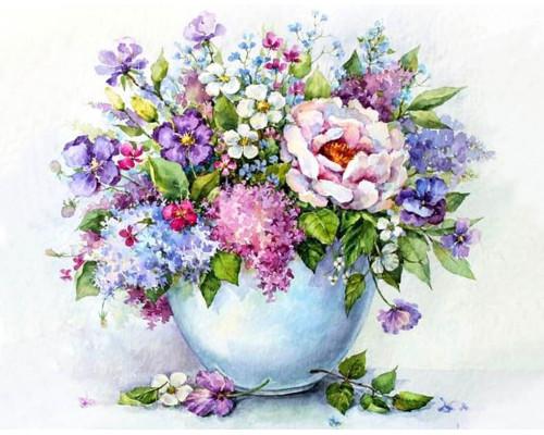 "Алмазная выкладка ""Нежные цветы в белой вазе"" 40х50"""
