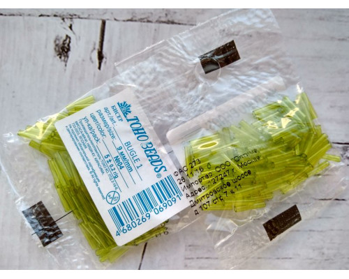 "Бисер ""TOHO"" BUGLE №1 9мм 5 г, 0004 салатовый"