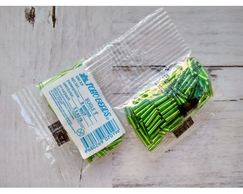 "Бисер ""TOHO"" BUGLE №3 9мм 5 г, 0027 зеленый"