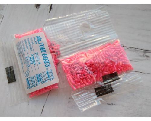 "Бисер ""TOHO"" BUGLE №4 3мм 5 г, 0979 оранжево-розовый/неон"