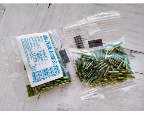 "Бисер ""TOHO"" BUGLE №7 9мм 5 г, 0333 зеленый"
