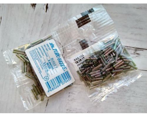 "Бисер ""TOHO"" BUGLE №7 9мм 5 г, 0326 зеленый/меланж"
