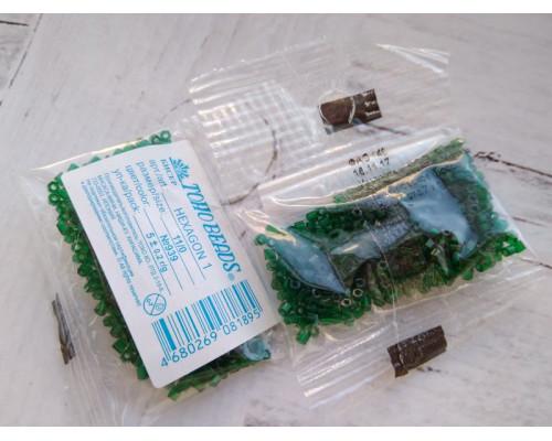 "Бисер ""TOHO"" 11/0 HEXAGON №1 2,2мм 5 г, 0939 т.зеленый"