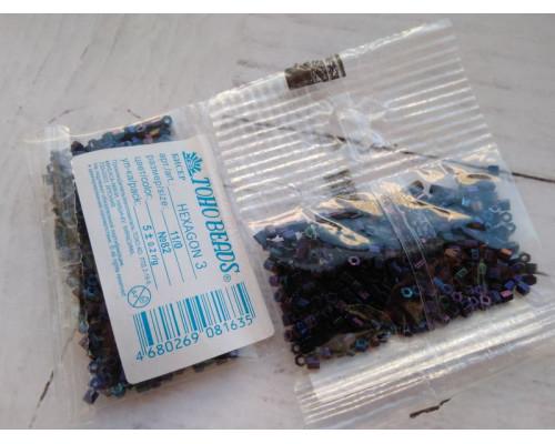 "Бисер ""TOHO"" 11/0 HEXAGON №3 2,2мм 5 г, 0082 синий"