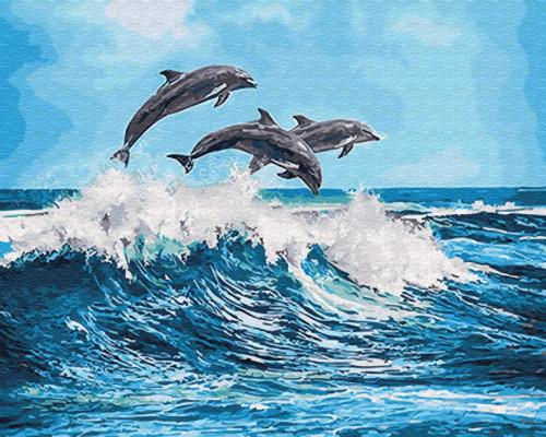 """Картина по номерам """"Дельфины над волной"""" 40*50см"""