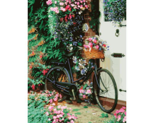 "Картина по номерам ""Велосипед с цветами"" 40х50"