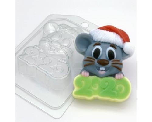 Форма для мыла пластиковая, 2020 - Мышь в новогодней шапке