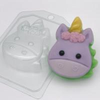 Форма для мыла пластиковая, Единорог мультяшный - Анфас