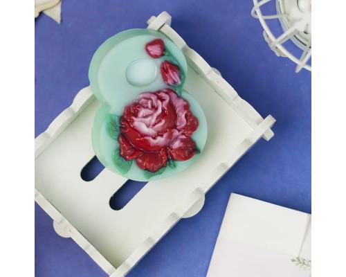 """Пластиковая форма """"Восьмерка с розой"""""""