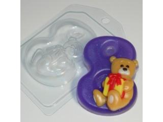 Форма для мыла пластиковая, Цифры - 8 с мишкой