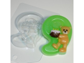 Форма для мыла пластиковая, Цифры - 9 с мишкой