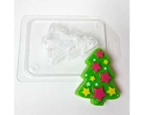 Форма для мыла пластиковая, Елка со звездами