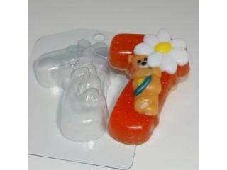 Форма для мыла пластиковая, Цифры - 7 с мишкой