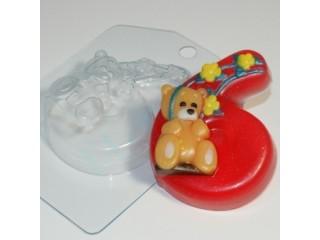 Форма для мыла пластиковая, Цифры - 6 с мишкой