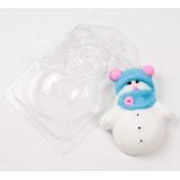 Форма для мыла пластиковая, Снеговик в шапочке и шарфике