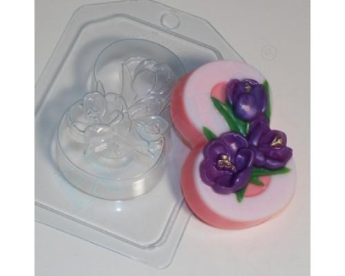 Форма для мыла пластиковая, 8 марта - Крокусы по диагонали