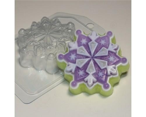 Форма для мыла пластиковая, Снежинка 6