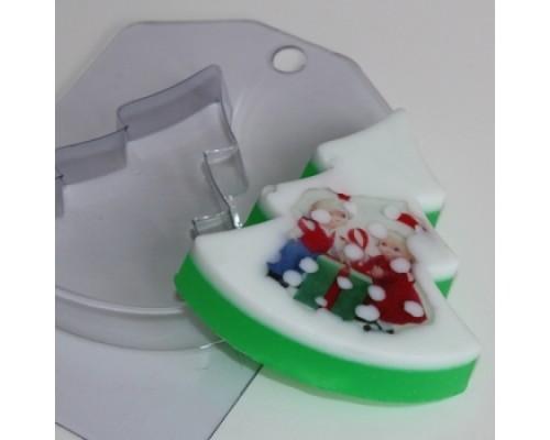 Форма для мыла пластиковая, Елка плоская