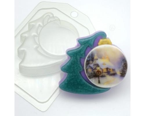 Форма для мыла пластиковая, Елка с шариком под водорастворимую картинку
