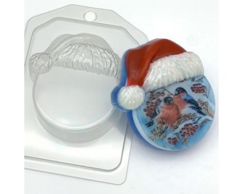 Форма для мыла пластиковая, Круг в новогодней шапке