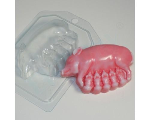 Форма для мыла пластиковая, Свинка-мама с поросятами