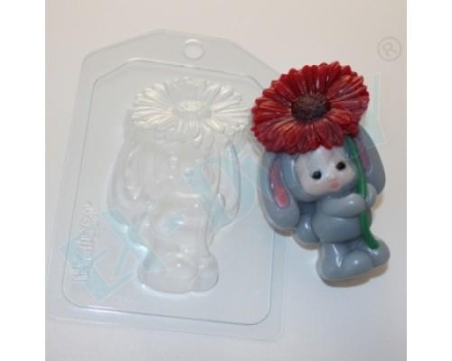 Форма для мыла пластиковая, Зайка-малыш с цветком