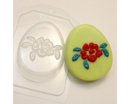 Форма для мыла пластиковая, Яйцо плоское Крупный цветок