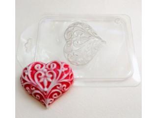 Форма для мыла пластиковая, Сердце узорное
