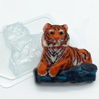 Форма для мыла пластиковая, Тигр лежит на камнях