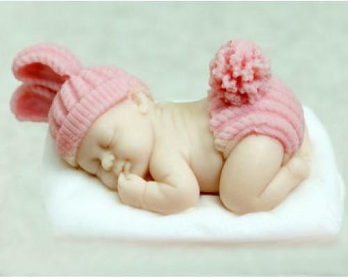 Силиконовая форма для мыла, Малыш на подушке 3D