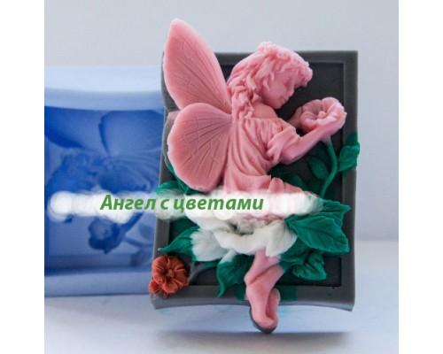 Силиконовая форма для мыла, Ангел с цветами