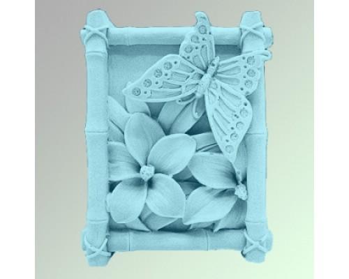 Силиконовая форма для мыла, Бабочка на цветке