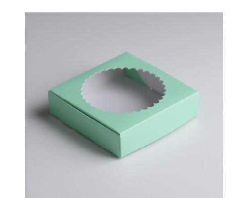Подарочная коробка сборная с окном, зелёный,11,5 х 11,5 х 3 см