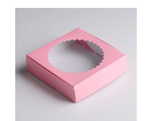 Подарочная коробка сборная с окном, розовый, 11,5 х 11,5 х 3 см