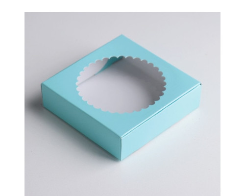 Подарочная коробка сборная с окном, голубой, 11,5 х 11,5 х 3 см
