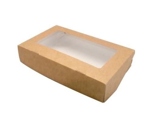 Крафт коробочка с окошком, 20*12*4