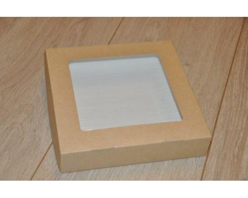 Крафт коробочка с окошком, 20*20*4
