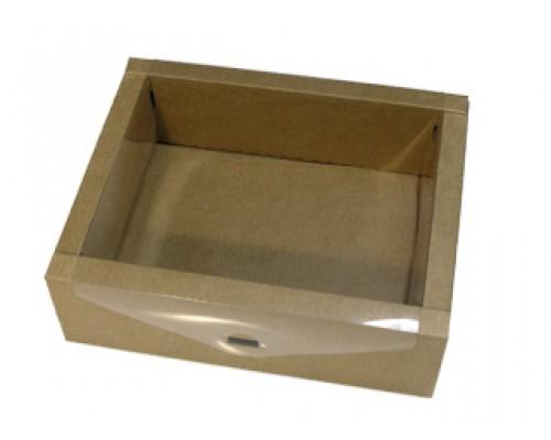 Подарочная коробка с пластиковой крышкой, коричневая