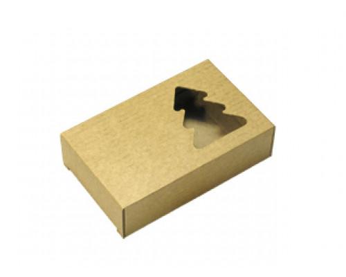 Подарочная коробка, Елочка, коричневая