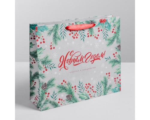 Пакет крафтовый горизонтальный «Счастья в Новом году!», ML 27 × 23 × 8 см
