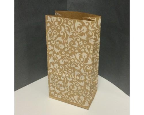 Крафт пакет растительный орнамент, белый, 100х70х200