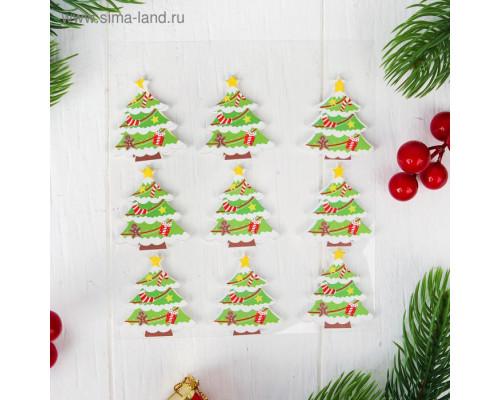 "Новогодний декор на магните ""Зимнее дерево"", набор 9 шт."