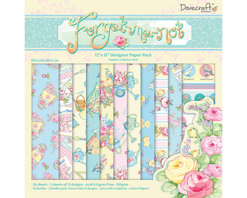 Набор бумаги 30*30см Forget me not DCDP142, 12листов
