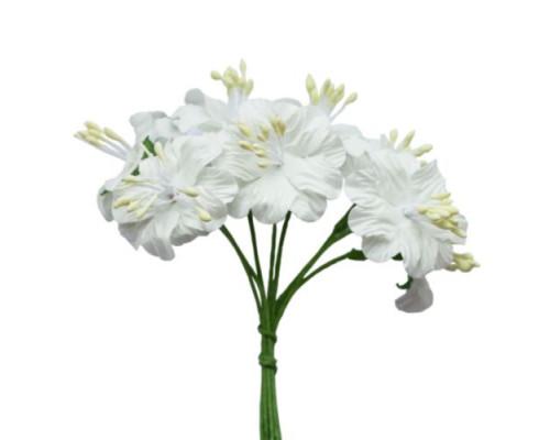Букетик цветов, 8 шт, диам 3см, Белый