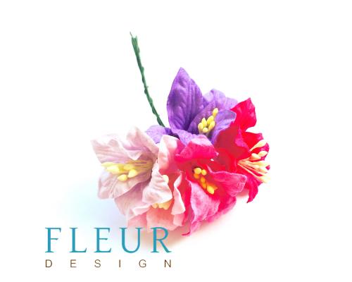 Цветы Лилии микс розово-сиреневых оттенков, размер цветка 3,75 см, 5 шт