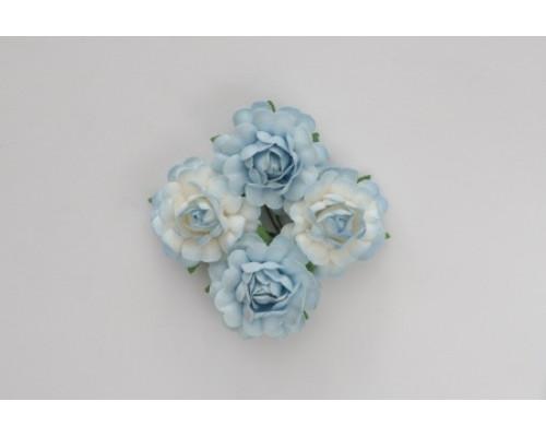 Цветы кудрявой розы 4 шт/ Голубые и бело-голубые