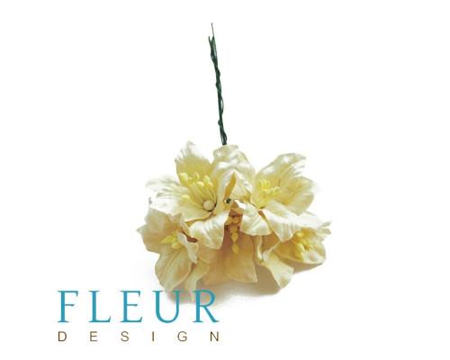 Цветы Лилии кремовые, размер цветка 3,75 см, 5 шт / упаковка FD3031147
